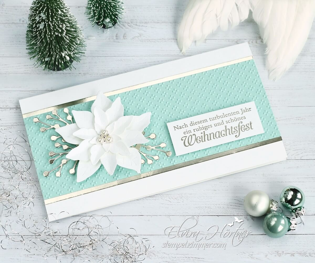 Weihnachtskarte mit Weihnachtsstern - Poinsettia - mit Produkten von Stampin' Up!