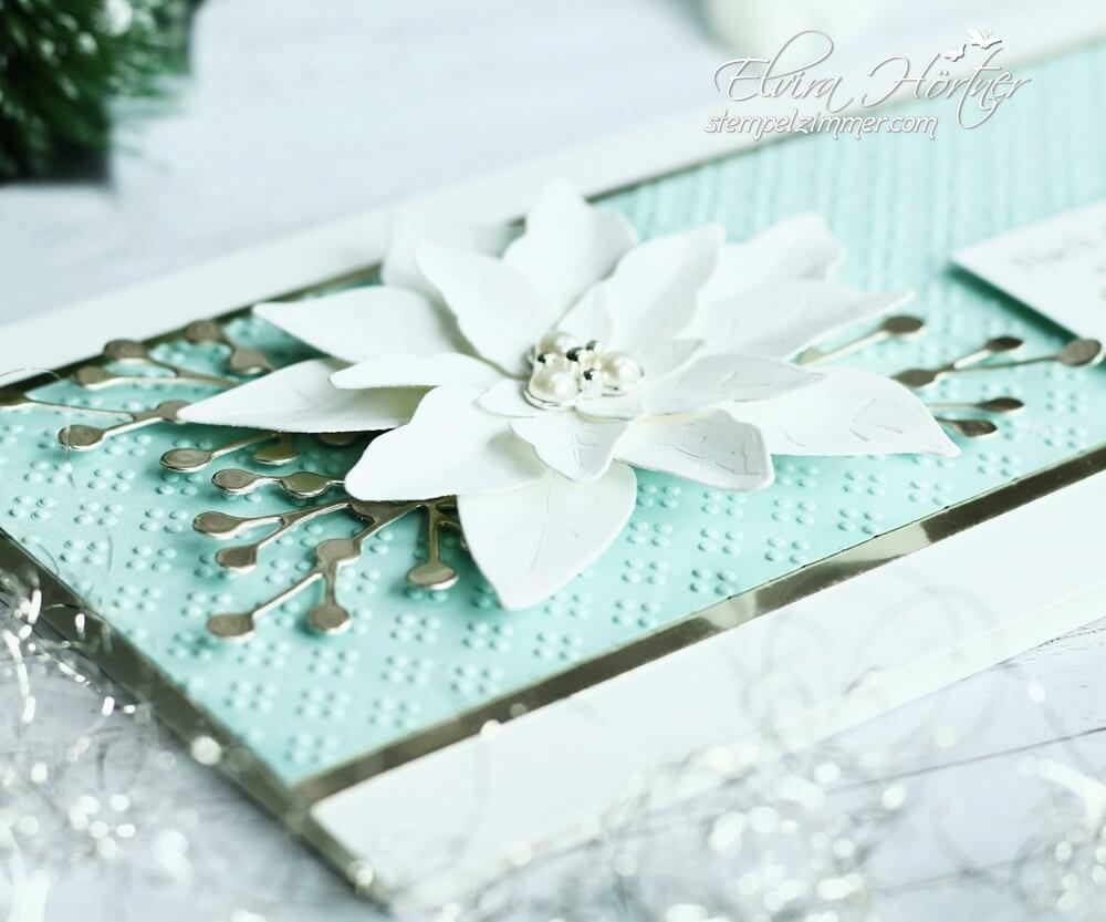 Weihnachtskarte mit Poinsettias in weiss-aquamarin von Stampin' Up!