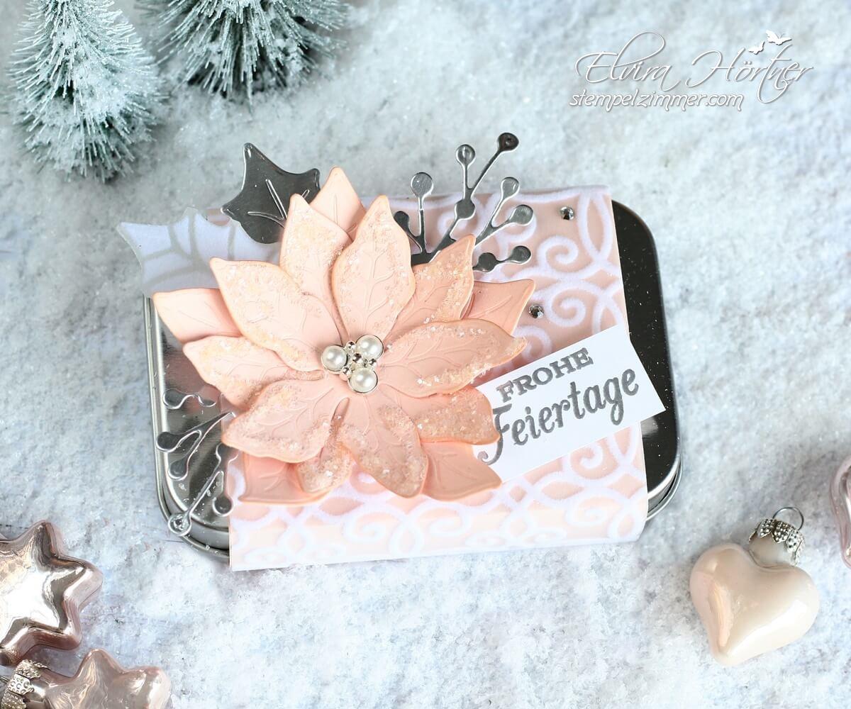 Weihnachtliche Verpackung mit Weihnachtsstern in rosa mit Produkten von Stampin' Up!