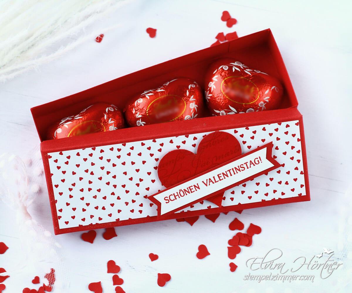 Herzliche Kleinigkeit zum Valentinstag-Verpackung Schokoherzen-Elviras Stempelzimmer