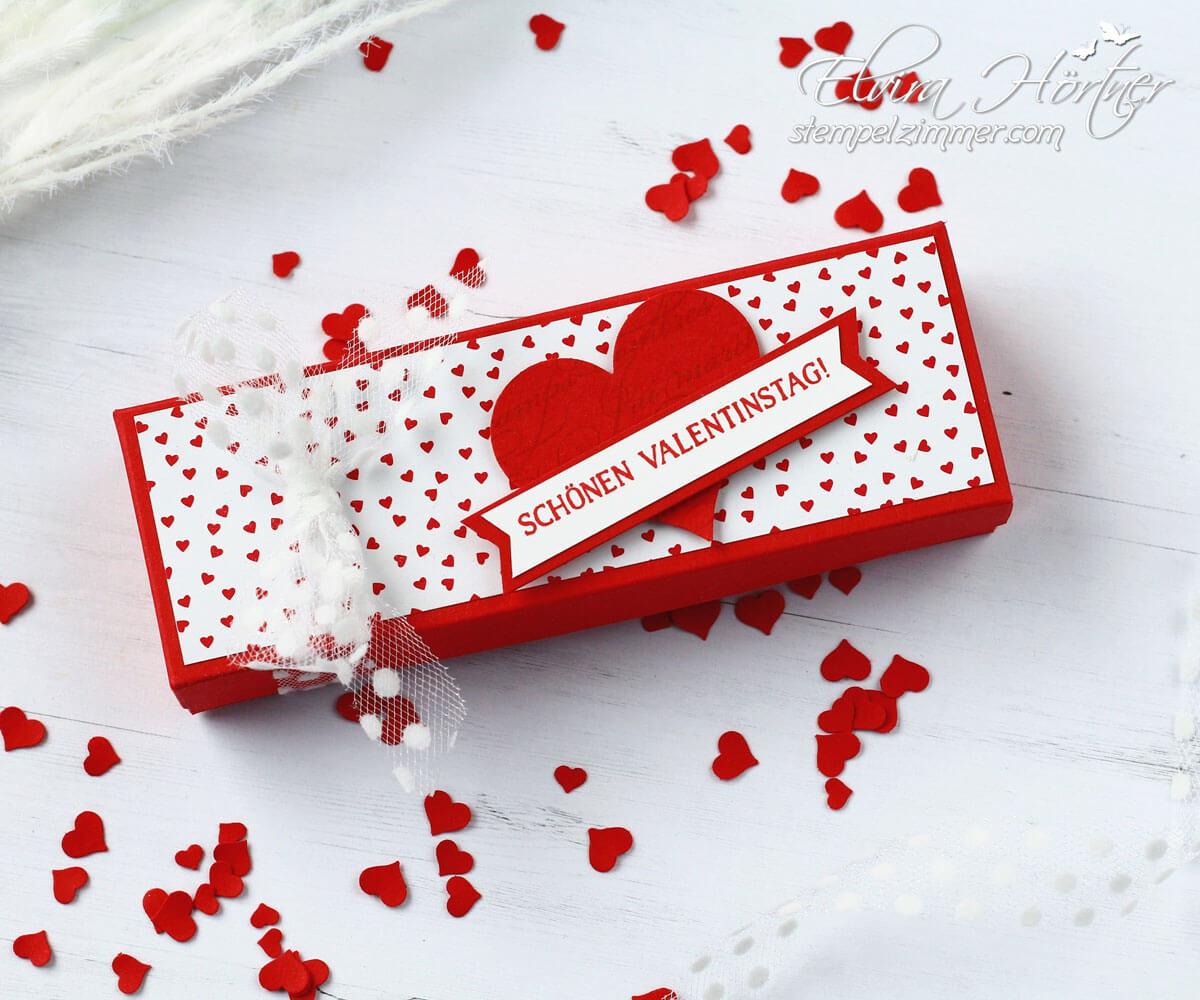 herzliche kleinigkeit zum Valentinstag-verpackung schokoherzen-mit Stampin' Up!