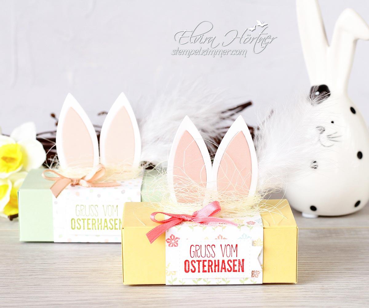 Kleine Box mit Osterhasenohren mit Produkten von Stampin' Up! und Alexandra Renke